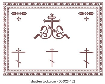 Ornamental orthodox cross, geometric orthodox crosses, frames and decorative elements, vignette, divider, header.