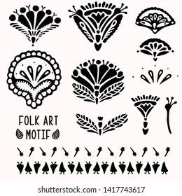 Ornamental paisley floral folk art elements for design set. Hand drawn linocut block print style. Folkloric clip art decor icon collection. Decorative flourish motif. Arabesque tattoo symbol shape.