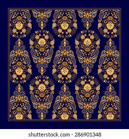 Ornamental Paisley pattern, design for pocket square, textile, silk shawl