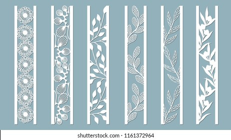 Ornamental panels with floral pattern. Flowers and leaves. Laser cut decorative lace borders patterns. Set of bookmarks templates. Image suitable for laser cutting, plotter cutting or printing.