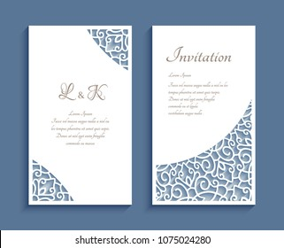 Ornamental panels with lace corner pattern, cutout paper decoration, vector templates for laser cutting, elegant wedding invitation or save the date card design, eps10