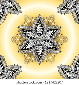 Ornamental pattern mehndi floral lace of buta decoration items on beige, yellow and white colors. Vector floral wedding decorative elements.