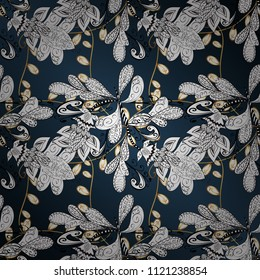 Ornamental pattern on white, blue and gray colors with golden elements. Golden pattern. Vector. Ornamental golden texture curls. Oriental style arabesques. Brilliant lace, stylized flowers, paisley.