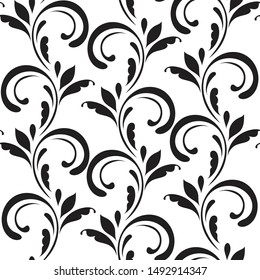 Ornamental pattern. Vector seamless abstract black background.Leaves and whorls.