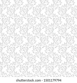 Ornamental pattern. Vector seamless abstract gray background.Leaves and whorls.