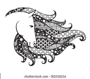 Ornamental patterned head of the horse. Zentangle doodle vector illustration. Black and white graphic. Can be used as design for tattoo, t-shirt, bag, poster, postcard, coloring book