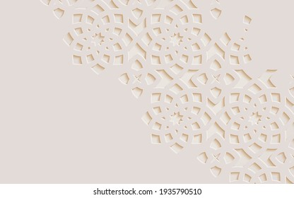Ornamental patterned stone relief in arabic architectural style of Arabic mosque,Islamic monochrome detail of mosaic