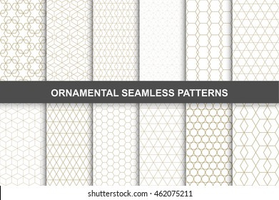 Ornamental patterns -  seamless vector collection. Luxury grid design.