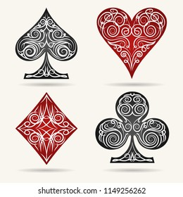 Ornamental Playing Card Suits Set. Vector illustration.