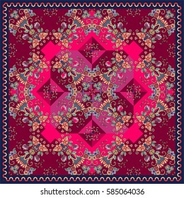 Ornamental print with tulips and hearts for carpet or cushion.