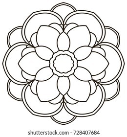 Ornamental round doodle flower isolated on white background. Black outline mandala. Geometric circle for coloring book, logo, design element. Vector illustration.