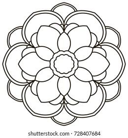 Ornamental round doodle flower isolated on white background. Black outline mandala. Geometric circle for coloring book, logo, design element. Vector illustration.