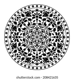 Ornamental round floral pattern. Black circle background. Vector illustration
