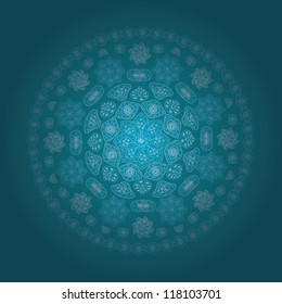 Ornamental round lace pattern, circle background with many details eps 10