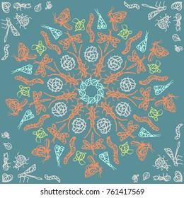 Ornamental round lace pattern, circle patern with many details, crocheting handmade lace, lacy arabesque designs. Orient traditional ornament. Oriental motif. The mandala with a beautiful bug.