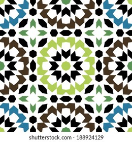 Ornamental round morocco seamless pattern. Orient traditional ornament. Oriental motif. Flat. Moroccan tile.