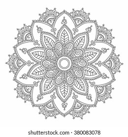 Ornamental round pattern with floral elements for smart modern coloring book for adult, shirt design or tattoo.Tribal zentangle for henna, tattoo, mehndi, mehdi. Hand-drawn zen doodle background.