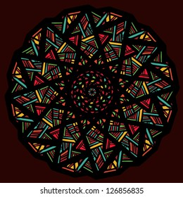 Ornamental round pattern stylized stained-glass window - vector