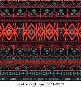 Ornamental seamless pattern. Dark ethnic backdrop. Mexican, american, indian style. sweden, norway.