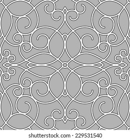 Ornamental seamless pattern with scrolls. Vector abstract background