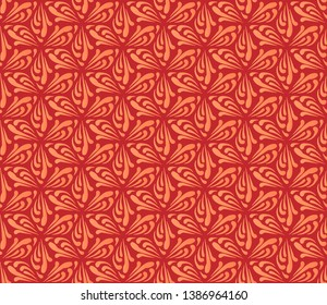 Ornamental seamless pattern in the shape of hexa star on red background.