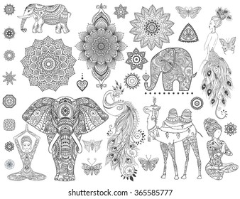 Ornamental set with animal, mandala vector. Element for design and Declaration.