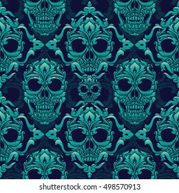 Ornamental Skull Seamless Pattern