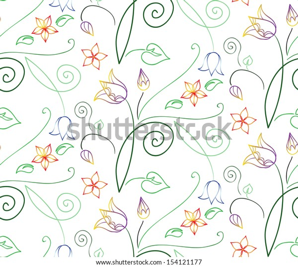 Ornamental summer seamless floral pattern with tulips and cute abstract doodle flowers.