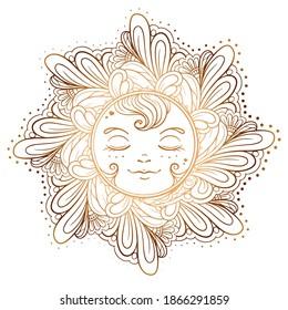 Ornamental sun illustration. Temporary tattoo, ethnic print.