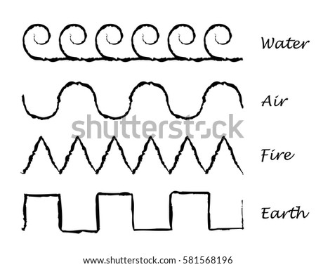 ornamental symbols elements water air fire stock vector royalty