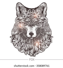 Ornamental Tattoo Fox Head. Highly Detailed Abstract Hand Drawn Style