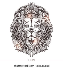 Ornamental Tattoo Lion Head. Highly Detailed Abstract Hand Drawn Style