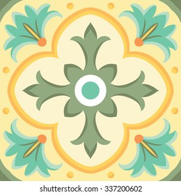 Ornamental tile background in Italian style. Ceramic tile