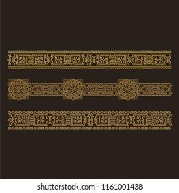 Ornamental tracery and borders. Arabic style. Islamic. Vector illustration.