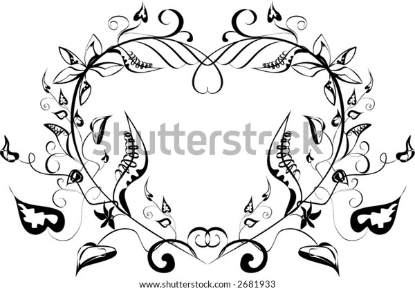 ornamental valentine heart with space for text - vector