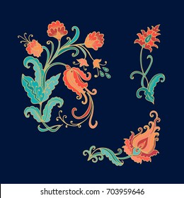 Ornamental vector decorative flowers on dark background