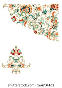 Ornamental vector floral  corner composition with exotic flowers, on white background