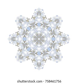 Ornamental vector rosette on white background