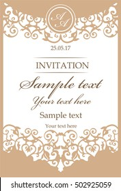 Ornamental vintage frame for wedding invitations. Invitation cards in an vintage style. Gold classic Ornate Pattern.  Wedding monogram. Laser cutting  Lace vector
