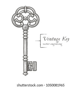 Ornamental vintage key with forging. Hand drawn engraving style illustrations.