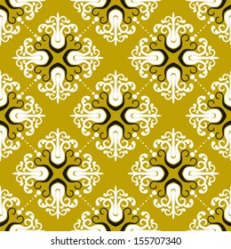 Ornamental vintage pattern with damask motifs on gold. Seamless texture for web, print, holiday decor, textile design, fabric, wrapping paper, wedding invitation background, fall summer fashion