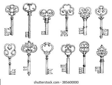 Ornamental Vintage Skeleton Keys Sketches Decorated By Forged Floral Motifs And Scrollwork Medieval
