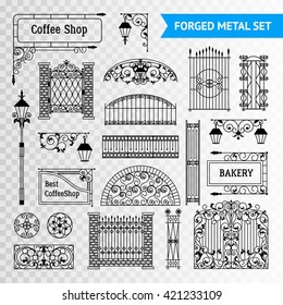 Ornamented iron castings steel forged fences elements set with gates railing and vintage shop signs black vector illustration