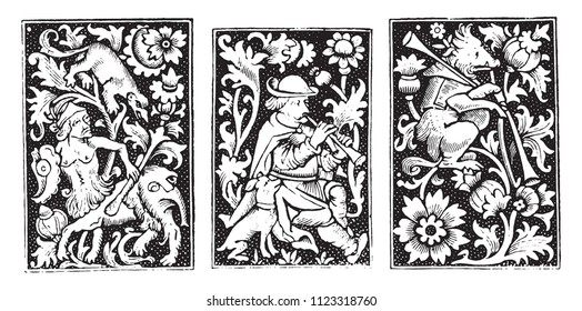 Ornaments of the books of Hours by Simon Vostre, vintage engraved illustration. Magasin Pittoresque 1855.