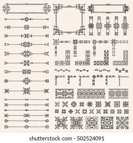 Ornaments elements set. Geometric dividers, ethnic borders, stylized embroidery. Square design collection. Tribal style frames, native stripes. Simple linear art. Folk tattoo sketch. Vector EPS10