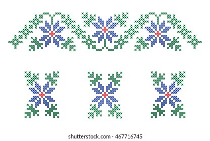 Ornaments of embroidery for collar shirts, blouses, T-shirt. Colorful embroidery. Set 1, part 2. Vector.