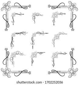 Ornaments frames Separator elements for Classic Vintage Wedding Invitation
