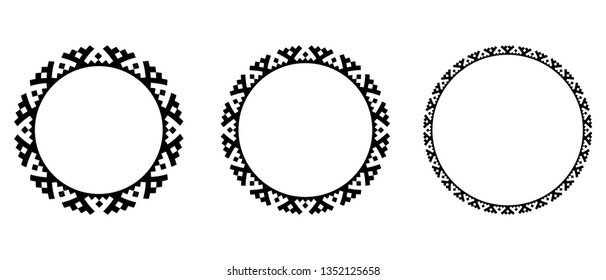 Ornaments of Khanty nation. Tradition Finno-Ugric ornaments. Vector complex nordic geometric ornament. Round Emblem