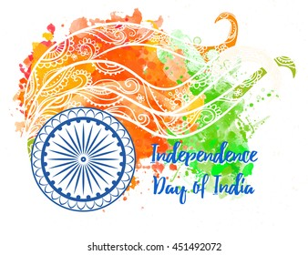 Ornametal poster Independence Day of India. It celebrated annually on August 15. Invitation card in vector. Kaleidoscope, medallion, india, arabic. Orange and green color Indian Flag watercolor