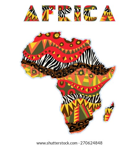 Ornate Africa continent with art title. Map element with bright tribal and wild animals skin patterns at abstract continent silhouette and word. Multicolored capital letters. Vector file is EPS8.